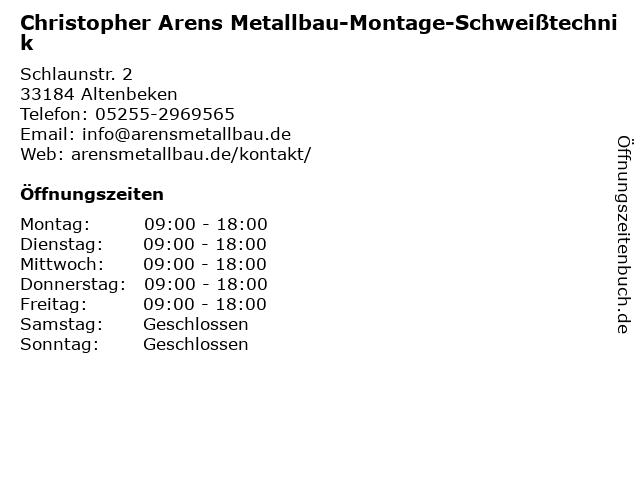 Christopher Arens Metallbau-Montage-Schweißtechnik in Altenbeken: Adresse und Öffnungszeiten