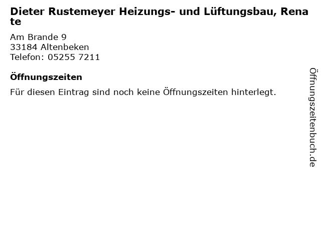 Dieter Rustemeyer Heizungs- und Lüftungsbau, Renate in Altenbeken: Adresse und Öffnungszeiten