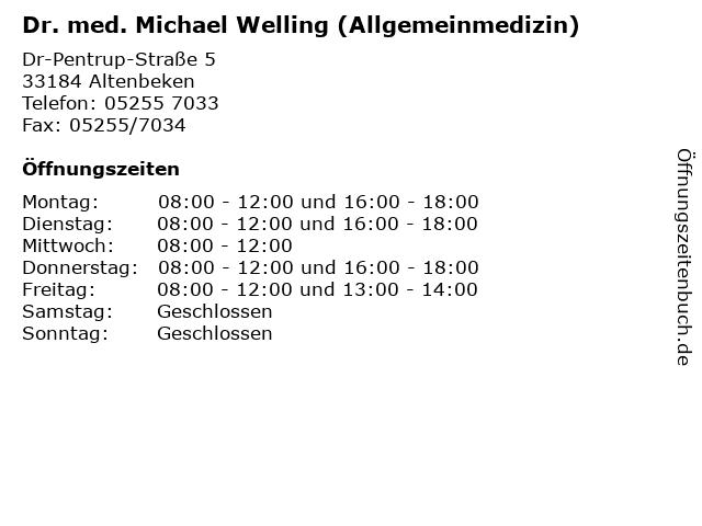 Dr. med. Michael Welling (Allgemeinmedizin) in Altenbeken: Adresse und Öffnungszeiten