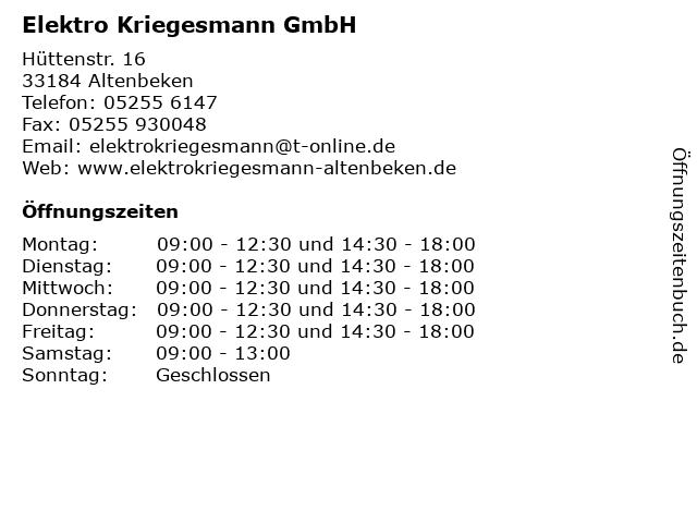 Elektro Kriegesmann GmbH in Altenbeken: Adresse und Öffnungszeiten