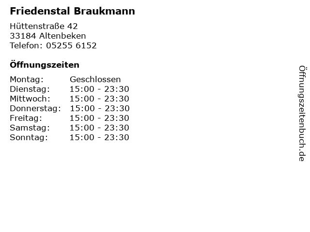 Friedenstal Braukmann in Altenbeken: Adresse und Öffnungszeiten