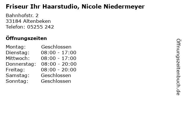 Friseur Ihr Haarstudio, Nicole Niedermeyer in Altenbeken: Adresse und Öffnungszeiten