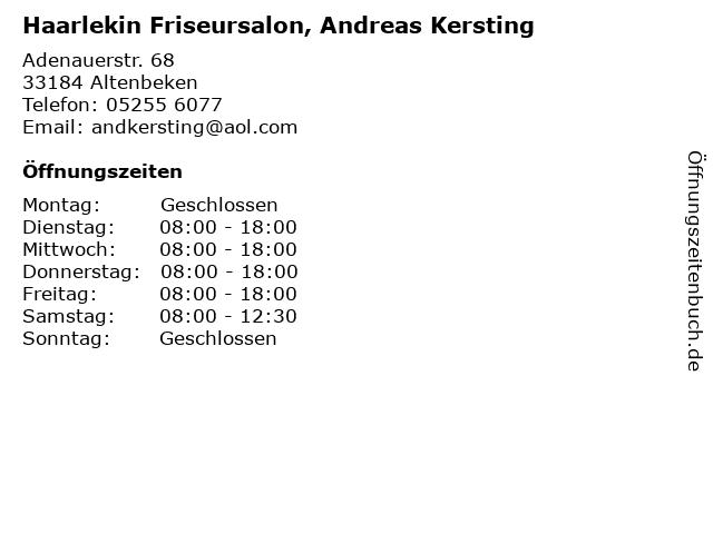 Haarlekin Friseursalon, Stellbrink-Kleinhans Heike in Altenbeken: Adresse und Öffnungszeiten