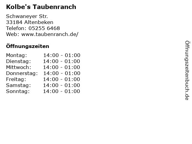 Kolbe's Taubenranch in Altenbeken: Adresse und Öffnungszeiten