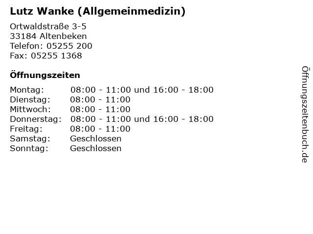 Lutz Wanke (Allgemeinmedizin) in Altenbeken: Adresse und Öffnungszeiten