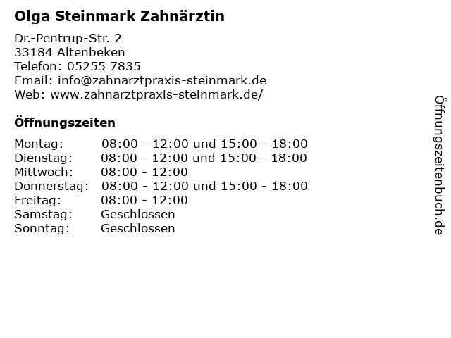 Olga Steinmark Zahnärztin in Altenbeken: Adresse und Öffnungszeiten