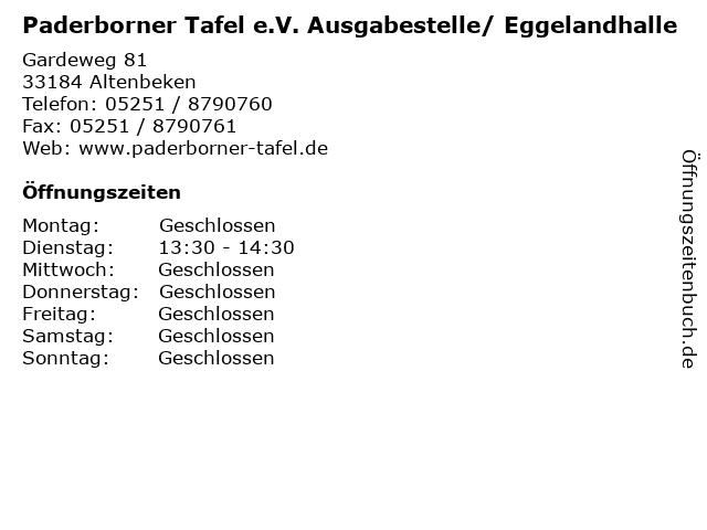 Paderborner Tafel e.V. Ausgabestelle/ Eggelandhalle in Altenbeken: Adresse und Öffnungszeiten