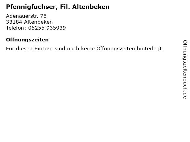 Pfennigfuchser, Fil. Altenbeken in Altenbeken: Adresse und Öffnungszeiten