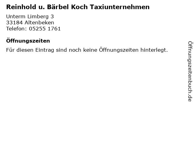 Reinhold u. Bärbel Koch Taxiunternehmen in Altenbeken: Adresse und Öffnungszeiten