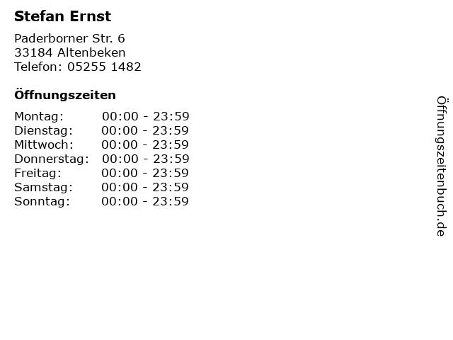 Stefan Ernst in Altenbeken: Adresse und Öffnungszeiten