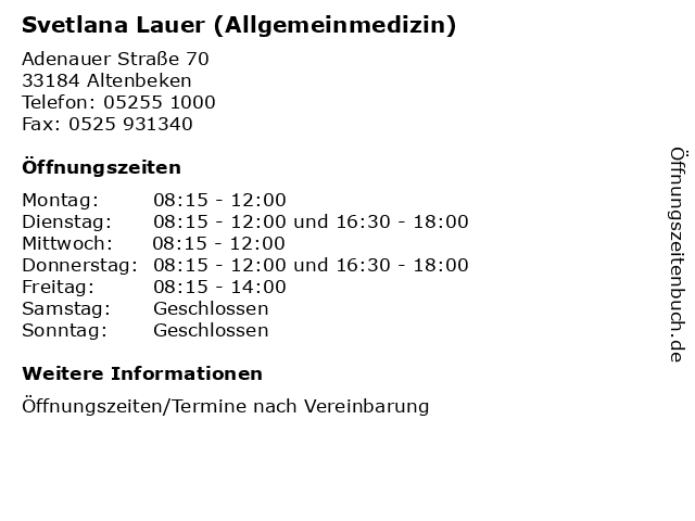 Svetlana Lauer (Allgemeinmedizin) in Altenbeken: Adresse und Öffnungszeiten