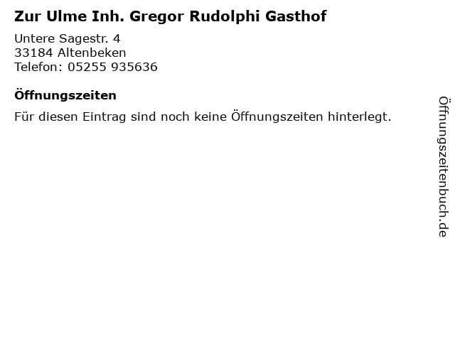 Zur Ulme Inh. Gregor Rudolphi Gasthof in Altenbeken: Adresse und Öffnungszeiten
