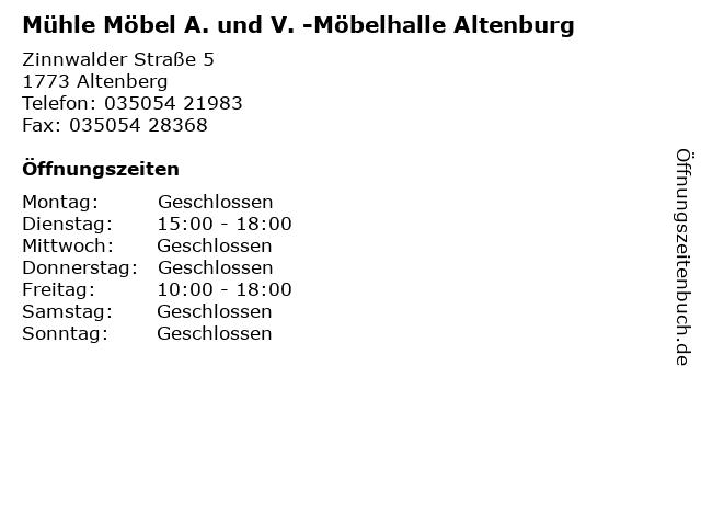 ᐅ öffnungszeiten Mühle Möbel A Und V Möbelhalle Altenburg