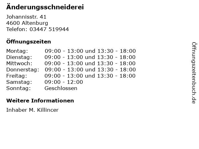 Änderungsschneiderei in Altenburg: Adresse und Öffnungszeiten
