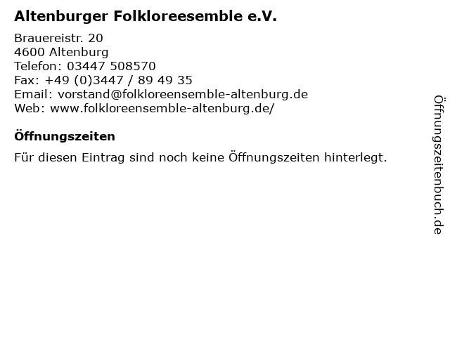 Altenburger Folkloreesemble e.V.Altenburg in Altenburg: Adresse und Öffnungszeiten