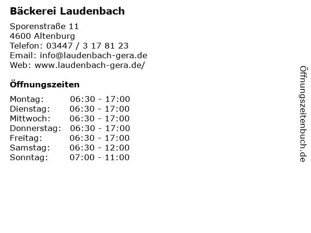 Bäckerei Laudenbach in Altenburg: Adresse und Öffnungszeiten