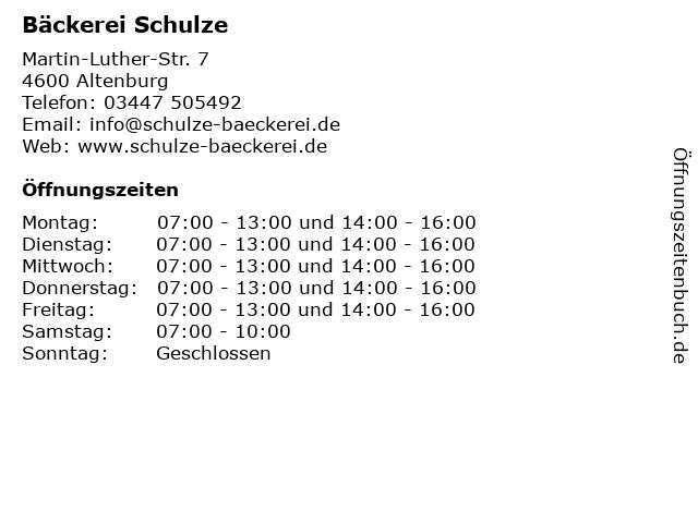 Bäckerei Schulze in Altenburg: Adresse und Öffnungszeiten