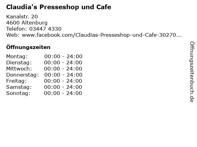 Claudia's Presseshop und Cafe in Altenburg: Adresse und Öffnungszeiten