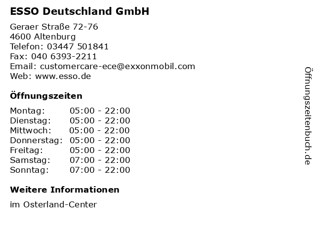 ESSO Deutschland GmbH in Altenburg: Adresse und Öffnungszeiten