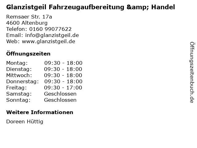 Glanzistgeil Fahrzeugaufbereitung & Handel in Altenburg: Adresse und Öffnungszeiten