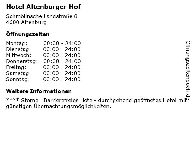 Hotel Altenburger Hof in Altenburg: Adresse und Öffnungszeiten