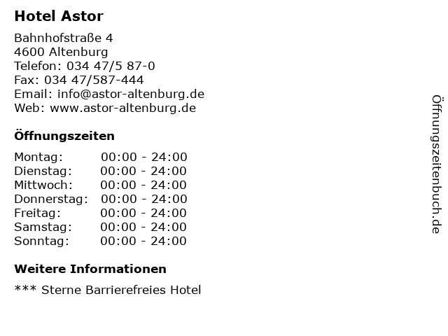 Hotel Astor in Altenburg: Adresse und Öffnungszeiten