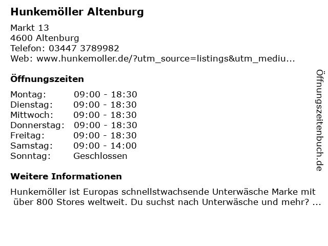 Hunkemöller Altenburg in Altenburg: Adresse und Öffnungszeiten