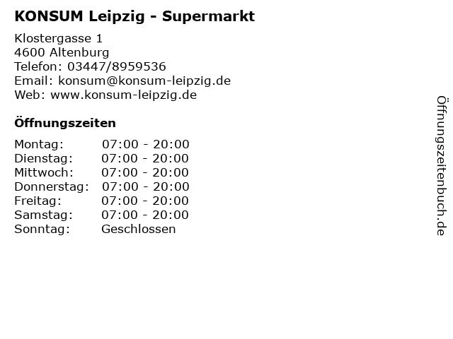 KONSUM Leipzig - Supermarkt in Altenburg: Adresse und Öffnungszeiten