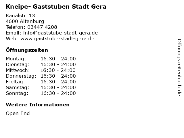 Kneipe- Gaststuben Stadt Gera in Altenburg: Adresse und Öffnungszeiten