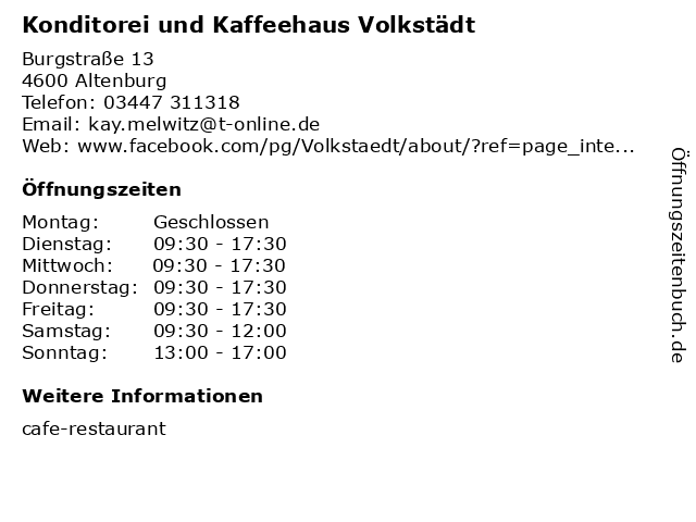 Konditorei und Kaffeehaus Volkstädt in Altenburg: Adresse und Öffnungszeiten