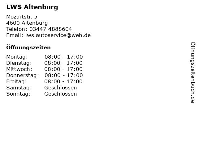 LWS Altenburg in Altenburg: Adresse und Öffnungszeiten
