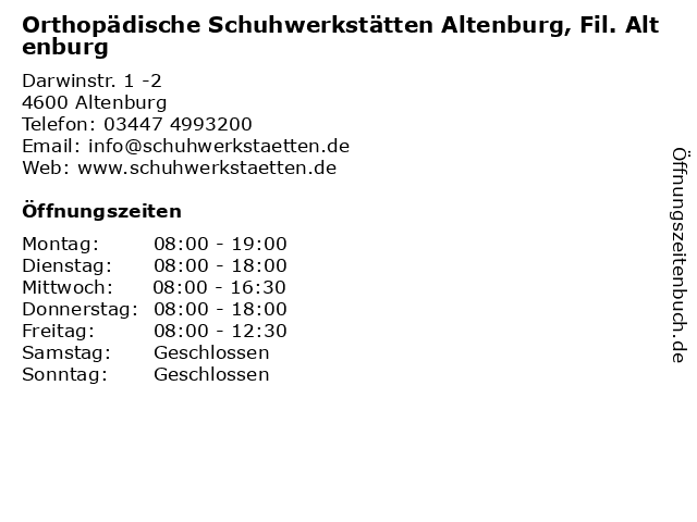 Orthopädische Schuhwerkstätten Altenburg, Fil. Altenburg in Altenburg: Adresse und Öffnungszeiten