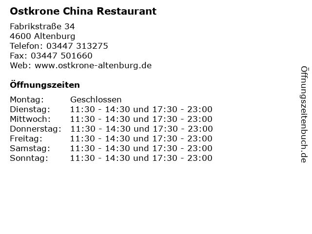 Ostkrone China Restaurant in Altenburg: Adresse und Öffnungszeiten