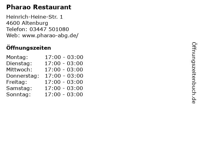 Pharao Restaurant in Altenburg: Adresse und Öffnungszeiten