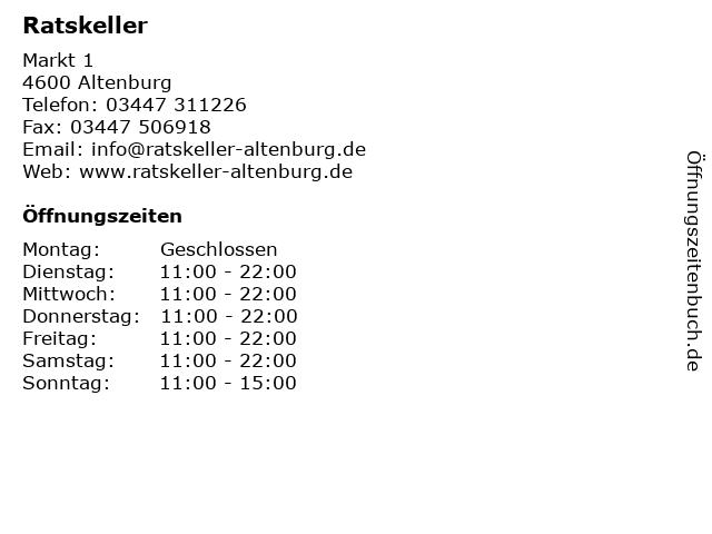 Ratskeller in Altenburg: Adresse und Öffnungszeiten