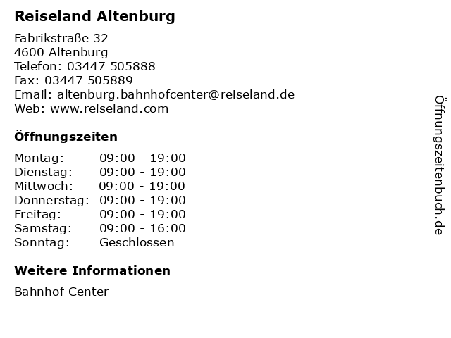 Reiseland Altenburg in Altenburg: Adresse und Öffnungszeiten