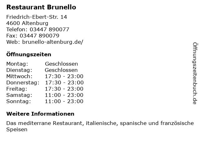 Restaurant Brunello in Altenburg: Adresse und Öffnungszeiten