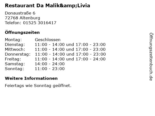 Restaurant Da Malik&Livia in Altenburg: Adresse und Öffnungszeiten