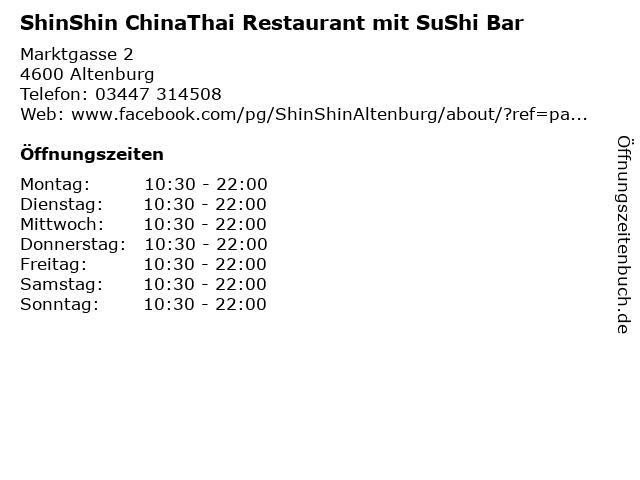 ShinShin ChinaThai Restaurant mit SuShi Bar in Altenburg: Adresse und Öffnungszeiten