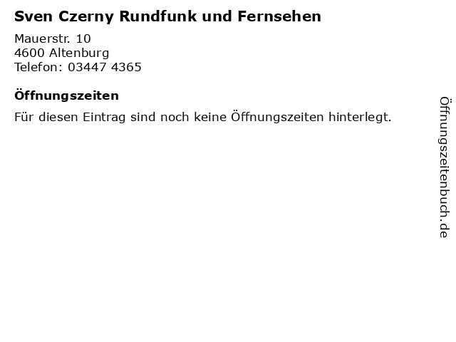 Sven Czerny Rundfunk und Fernsehen in Altenburg: Adresse und Öffnungszeiten