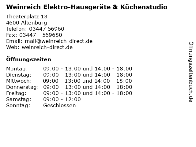 Weinreich Elektro-Hausgeräte & Küchenstudio in Altenburg: Adresse und Öffnungszeiten