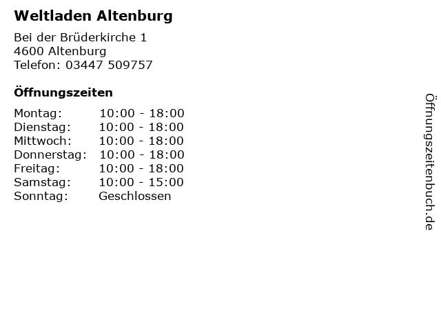 Weltladen Altenburg in Altenburg: Adresse und Öffnungszeiten