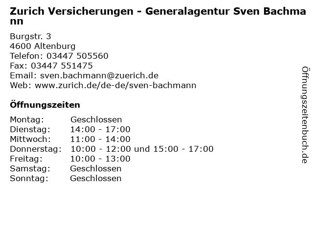 Zurich Versicherungen - Generalagentur Sven Bachmann in Altenburg: Adresse und Öffnungszeiten