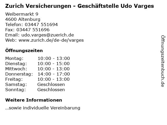 Zurich Versicherungen - Geschäftstelle Udo Varges in Altenburg: Adresse und Öffnungszeiten