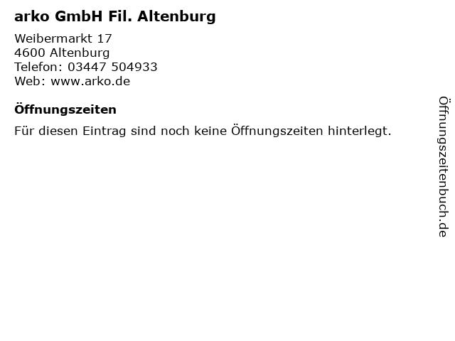 arko GmbH Fil. Altenburg in Altenburg: Adresse und Öffnungszeiten