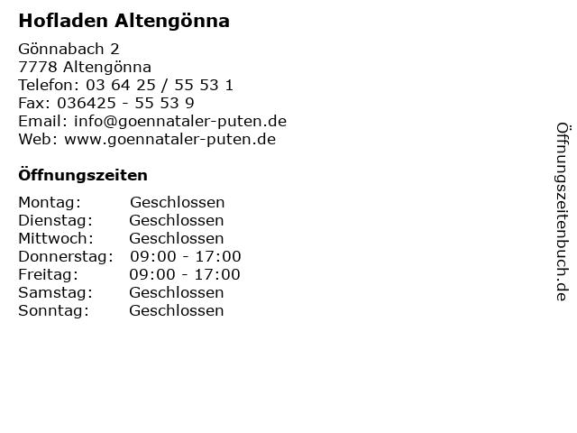 Hofladen Altengönna in Altengönna: Adresse und Öffnungszeiten