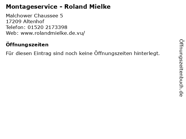 Montageservice - Roland Mielke in Altenhof: Adresse und Öffnungszeiten