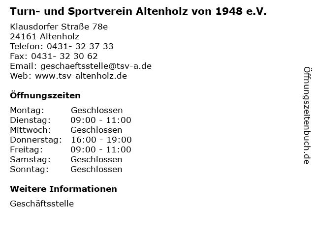 Turn- und Sportverein Altenholz von 1948 e.V. in Altenholz: Adresse und Öffnungszeiten