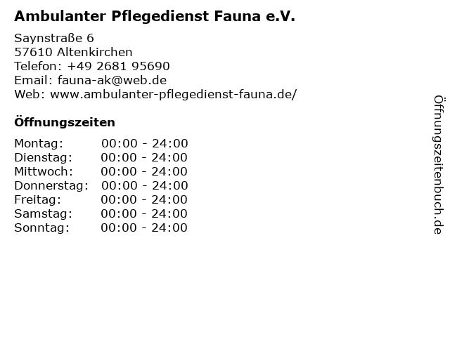 Ambulanter Pflegedienst Fauna e.V. in Altenkirchen: Adresse und Öffnungszeiten