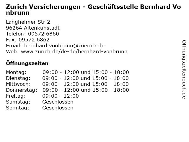 ᐅ Offnungszeiten Zurich Versicherungen Geschaftsstelle Bernhard